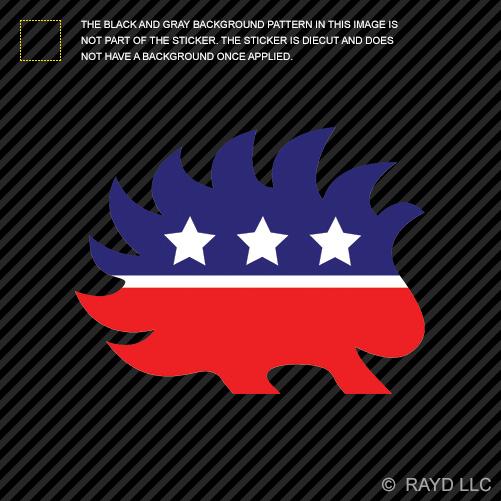 libertarian porcupine sticker die cut decal self adhesive