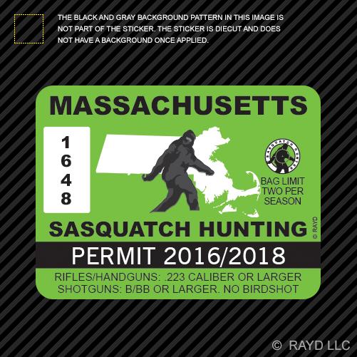 Massachusetts sasquatch hunting permit sticker die cut for Fishing license ma