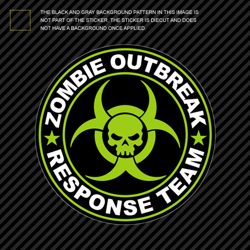 Green Zombie Outbreak Response Team Sticker Die Cut Decal