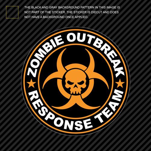 Orange Zombie Outbreak Response Team Sticker Die Cut Decal