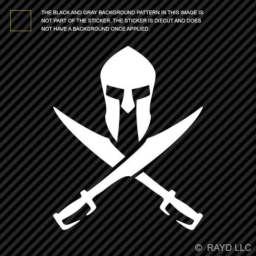 Crossed spartan sword sticker die cut decal molon
