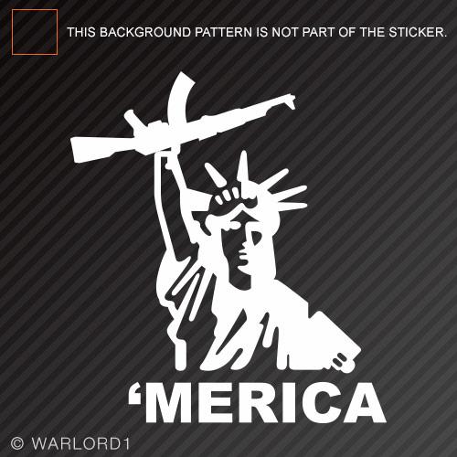 Lady liberty gun merica sticker die cut decal