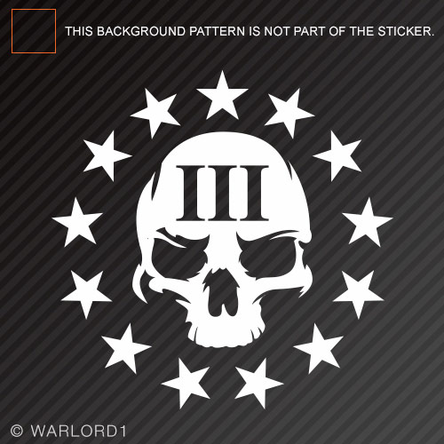3 percenter skull sticker die cut decal iii