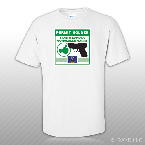 North dakota concealed carry permit holder t shirt tee for Lifetime fishing license nc