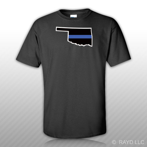 Oklahoma State Shaped Thin Blue Line T Shirt Tee Shirt