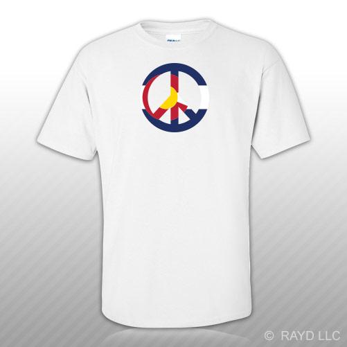 Colorado Flag Peace Symbol T Shirt Tee Shirt Cotton Co Sign No War