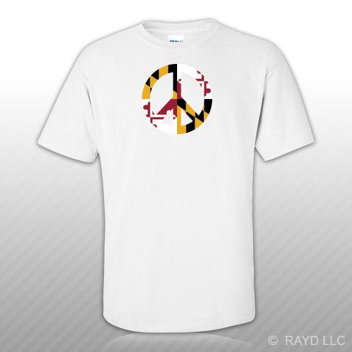 Maryland Flag Peace Symbol T Shirt Tee Shirt Cotton Md Sign No War