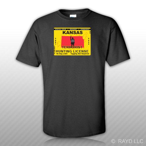 Kansas terrorist hunting permit t shirt tee shirt free for Kansas lifetime fishing license