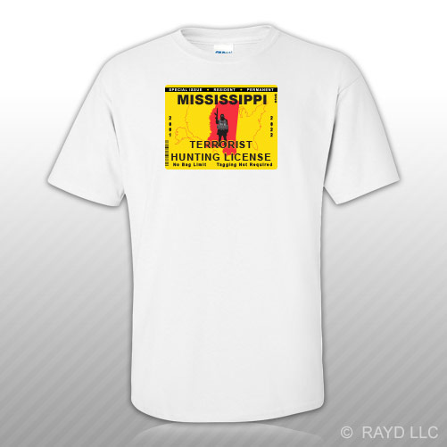 Mississippi terrorist hunting permit t shirt tee shirt for Fishing license ms