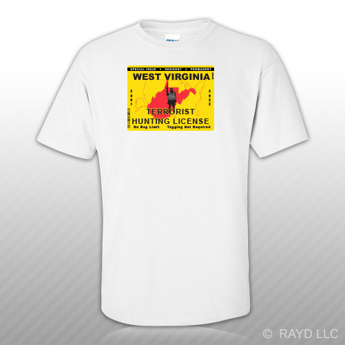 West virginia terrorist hunting permit t shirt tee shirt for Wv fishing license online