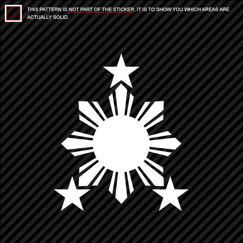 2x philippines sun sticker die cut 2 stars