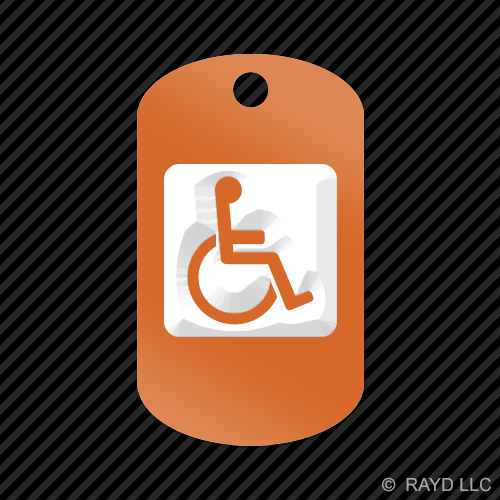 Handicap-Keychain-GI-dog-tag-engraved-many-colors-Disabled-Assisted