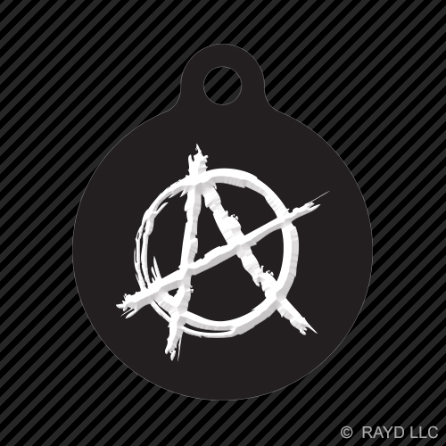 Anarchy Symbol Keychain Round With Tab Dog Engraved Many Colors
